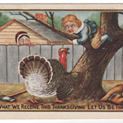 Thanksgiving Postcard with a Gobbler Chasing a Pilgrim Boy Up a Tree