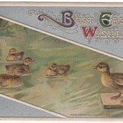 Winsch Easter Postcard Ducklings on a Pond Copyright 1911