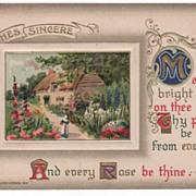 Winsch Greeting Postcard Spring Scene with Many Flowers 1910