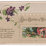 Winsch Birthday Greeting Postcard Spring Scene Violets Horseshoe 1913