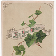 Winsch New Year Postcard White Ribbon Banner Ivy 1913