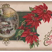 Winsch Christmas Postcard Winter Scene and Red Poinsettias 1911