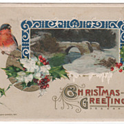 Winsch Christmas Postcard Robin Holly Snowy Bridge Scene 1911