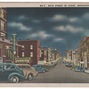 Main Street by Night Morristown TN Tennessee Postcard
