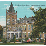 E. W. Grove Henry County High School Paris TN Tennessee Postcard