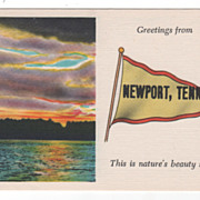 Greetings from Newport TN Tennessee Pennant Postcard - Sunset Scene