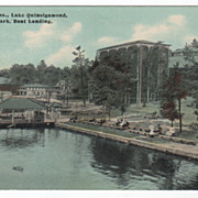 Worcester MA Massachusetts Lake Quinsigamond Lincoln Park Boat Landing Postcard