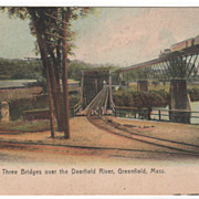Three Bridges over the Deerfield River Greenfield MA Massachusetts Postcard