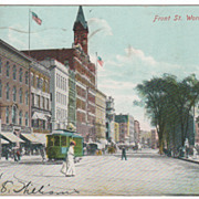 Front Street Worcester MA Massachusetts Postcard - Trolley