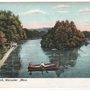 Elm Park Worcester MA Massachusetts Postcard - Couple in Canoe