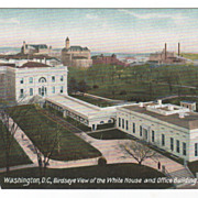 Washington D C Birdseye View of the White House and Office Building Postcard