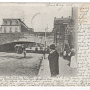 Railroad Arch over Main Street Springfield MA Massachusetts Postcard