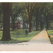 East Main Street Greenfield MA Massachusetts Postcard