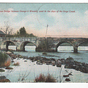Old Stone Bridge between Orange and Wendell MA Massachusetts Vintage Postcard