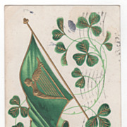 "St Patrick's Day Postcard Harp on Flag Clover ""Erin Go Bragh"""