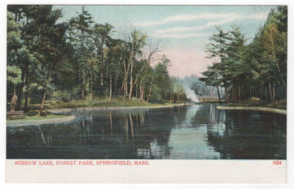 Mirrow Lake Forest Park Springfield MA Massachusetts Postcard