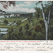 View of Connecticut River Mt Tom in Distance Springfield MA Massachusetts Postcard