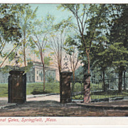 U S Arsenal Gates Springfield MA Massachusetts Postcard