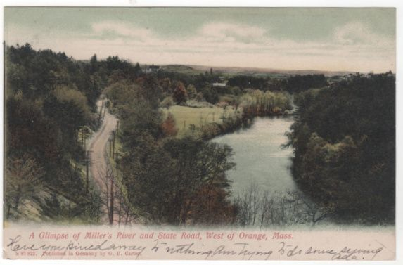 Miller's River and State Road West of Orange MA Massachusetts Postcard