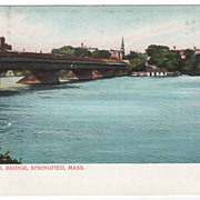 The Old Toll Bridge Springfield MA Massachusetts Vintage Postcard
