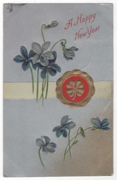 New Year Vintage Postcard - A Happy New Year Clover Wax Seal