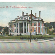 Residence of J W Wheeler Orange MA Massachusetts Vintage Postcard