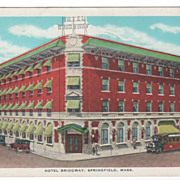 White Border Hotel Bridgway Springfield MA Massachusetts Vintage Postcard