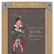 """To My Valentine"" Boy in Kilt and Tartan -Tuck 1902 Valentine Greeting Card"