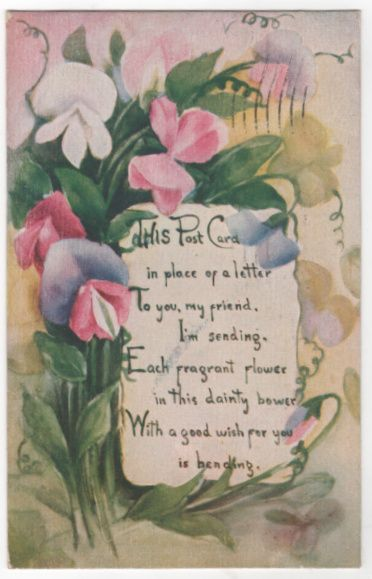 Greetings Vintage Postcard - Postcard in Place of Letter - Flowers