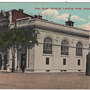New Bank Building Looking West Greenfield MA Massachusetts Vintage Postcard