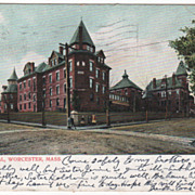 City Hospital Worcester MA Massachusetts Vintage Postcard