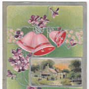 Easter Greeting Vintage Postcard Country Church Scene Violets Bells