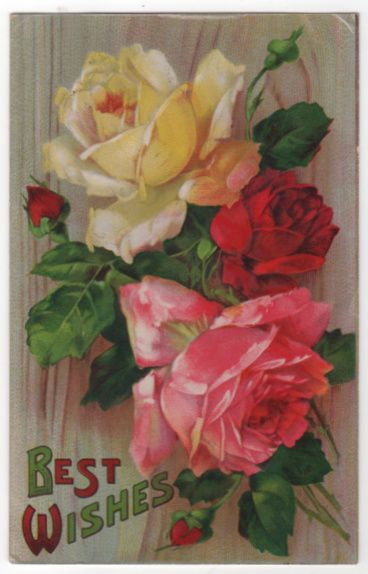 Best Wishes Greetings Vintage Postcard Red Yellow Pink Roses