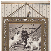 Greetings Vintage Postcard Three Kittens Playing with a Tree Branch