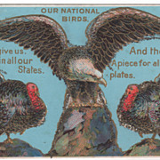 Thanksgiving Vintage Postcard - Eagle and Turkey Gobblers