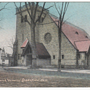 All Souls Church Unitarian Greenfield MA Massachusetts Vintage Postcard