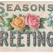 Seasons Greetings Vintage Postcard - Horseshoe Yellow and Pink Roses Tiny Flowers