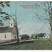 Congregational Church and Street Dummerston Center VT Vermont Vintage Postcard