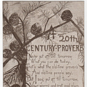 Greetings Vintage Postcard 20th Century Proverb Pine Needles and Cones