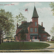 High School Orange MA Massachusetts Vintage Postcard