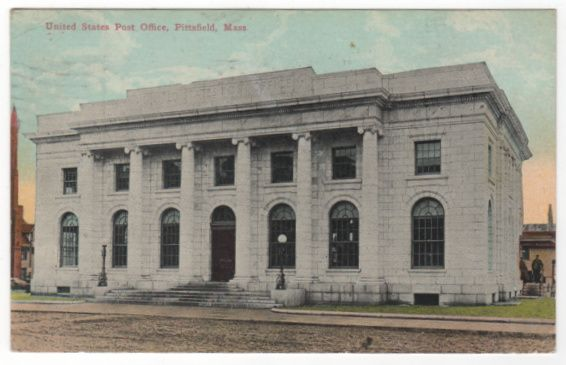 United States Post Office Pittsfield MA Massachusetts Vintage Postcard