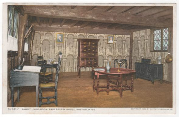 DPC Family Living Room Paul Revere House Boston MA Massachusetts Vintage Postcard