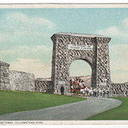 DPC Entrance Gateway Yellowstone Park WY Wyoming Vintage Postcard