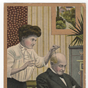 Comic Vintage Postcard Counts Love Me Loves Me Not by Hairs on Bald Head
