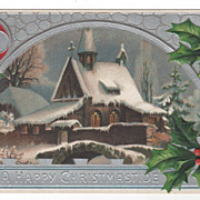 Christmas Vintage Postcard A Happy Christmastide Church Scene Holly