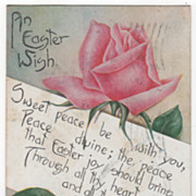Easter Vintage Postcard An Easter Wish Pink Rose Copyrighted 1911
