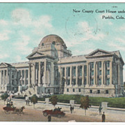 New County Court House under Construction Pueblo CO Colorado Vintage Postcard