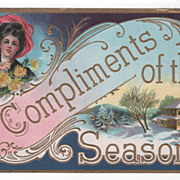 Greetings Vintage Postcard Compliments of the Season Woman with Flowers