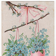 Easter Vintage Postcard Easter Greetings Pussy Willow Blue Flowers