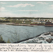 River Town Possibly Freeport Burnham Lisbon Falls ME Maine Vintage Postcard